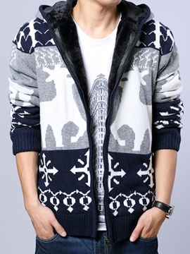 Mens Deer Printed Zip Cardigan Knitwear With Velvet