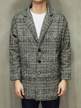 Houndstooth Notched Collar Mens Middle Length Windbreak