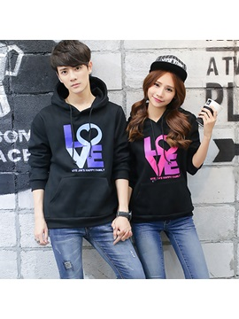 Simple Cotton Blends Love Printed Couple Hoodies Price For A Pair