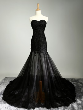 Modern Sweetheart Appliques Sequins Black Evening Dress