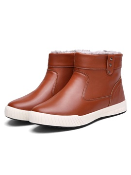 Solid Color Pu Slip On Mens Boots