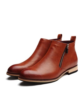Pu Ed Plain Toe Mens Boots