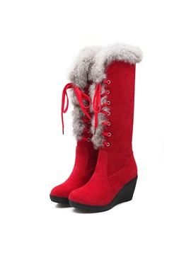 Faux Fur Suede Lace Up Wedge Boots