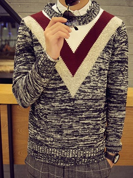 V Pattern Color Block Crew Neck Mens Pullover Sweater