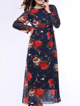 Floral Print Sleeve Belt Maxi Dress