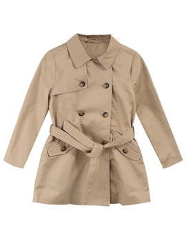 Double Breasted Long Sleeve Lapel Girls Overcoat