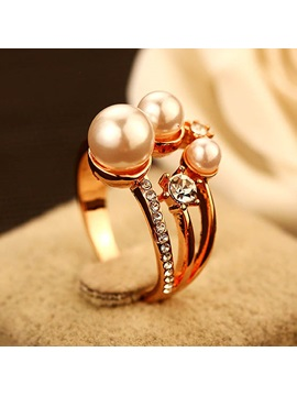 Pearl Decorated Womens Alloy Ring