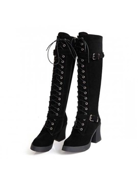 Black Suede Chunky Heel Knee High Boots
