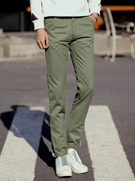 Mens Slim Fit Solid Color Casual Pencil Pants