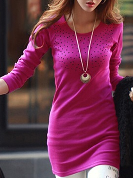 Plain Round Neck Long Sleeve Day Dress