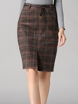 Plaid Split Slim Knee Length Skirt