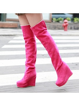 Suede Fold Over Wedge Heel Thigh High Boots