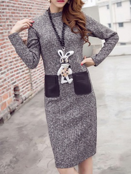 Chic Long Sleeve Sweater Dress With Pocket