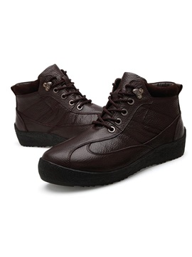 Solid Color Lace Up Mens Boots