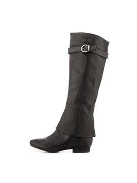 Black Pu Square Heel Knee High Boots