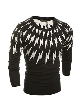 Lightning Printed Crew Neck Mens Slim Fit Sweater