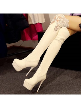 Lace Patchwork Platform Thigh High Boots