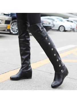 Pu Studded Slip On Riding Boots