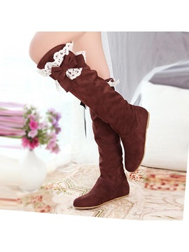 Bowknot Suede Slip On Thigh High Boots