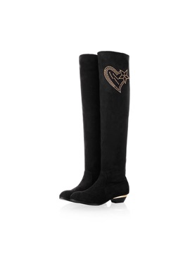 Rhinestone Suede Thigh High Boots