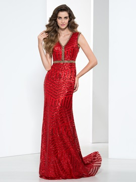 Shining V Neck Beading Column Sequin Evening Dress