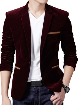 Mens Cordury Pockets Decorated Casual Plain Blazer
