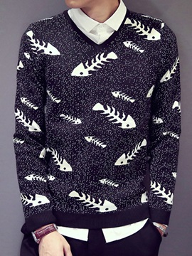 Fishbone Printed V Neck Mens Pullover Sweater