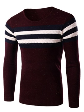 Mens Chest Stripe Decorated Slim Fit Pullover Sweater