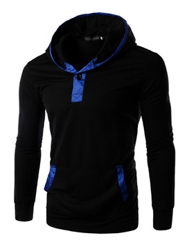 Mens Solid Color Part Patchwork Pullover Hoodies