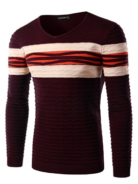 Mens Color Block Stripe Decorated Pullover Sweaters