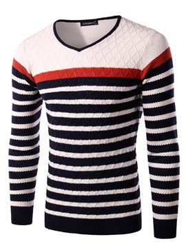 Color Block Cross Stripe Design Mens V Neck Sweater