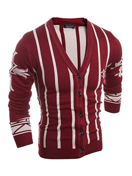 V Neck Vertical Stripes Mens Cardigan Knitwear