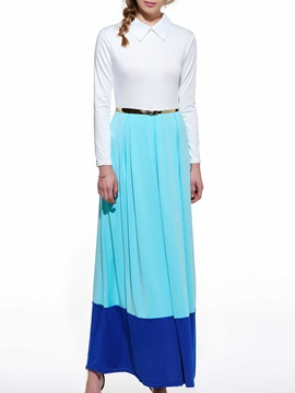 Patchwork Turn Down Collar Belt Maxi Dress