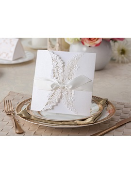 White Folding Invitation Card With Bow
