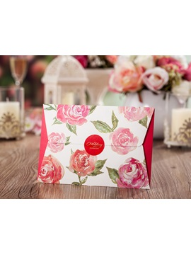 Floral Printed Folding Cheap Wedding Invitations 20 Pieces One Set