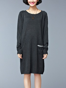 Plain Long Sleeve Sweater Dress With Pocket
