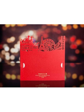 Red Building Cut Outs Wedding Invitations 20 Pieces One Set