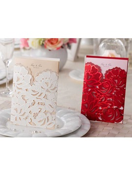 Customized Floral Pattern Folding Wedding Invitations 20 Pieces One Set