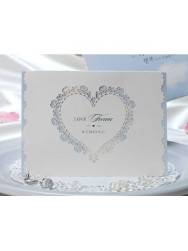 Heart Cut Out White Wedding Invitations 20 Pieces One Set