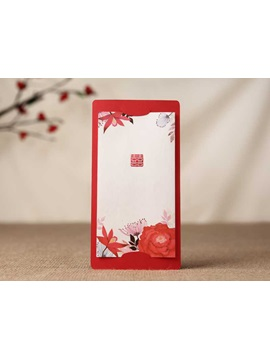 Red Flower Printing Wedding Invitation Cards 20 Pieces One Set
