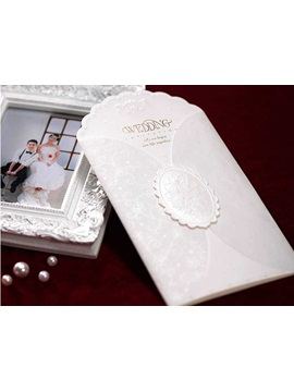 Unique Design White Wedding Invitation Cards 20 Pieces One Set