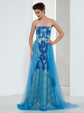 Dramatic Strapless A Line Appliques Beading Long Evening Dress