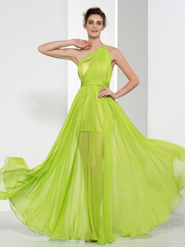 Tidebuy One Shoulder Pleats Lace Long Prom Dress