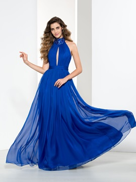 Modern Halter Hollow Sequin Beading Long Evening Dress