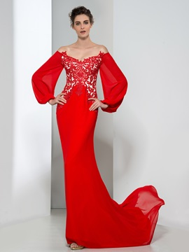 Elegant V Neck Long Sleeves Appliques Red Evening Dress
