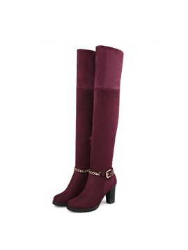 Chains Chunky Heel Thigh High Boots