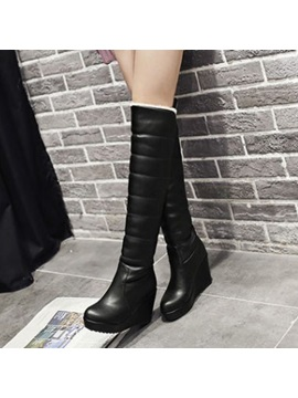 Solid Color Slip On Knee High Wedge Boots