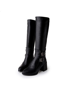 Buckles Chunky Heel Knee High Boots