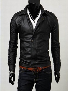 Snap Fastener Lapel Mens Solid Color Leather Jacket