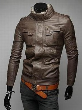 Faux Fur Lined Collar Plain Mens Hidden Zip Jacket